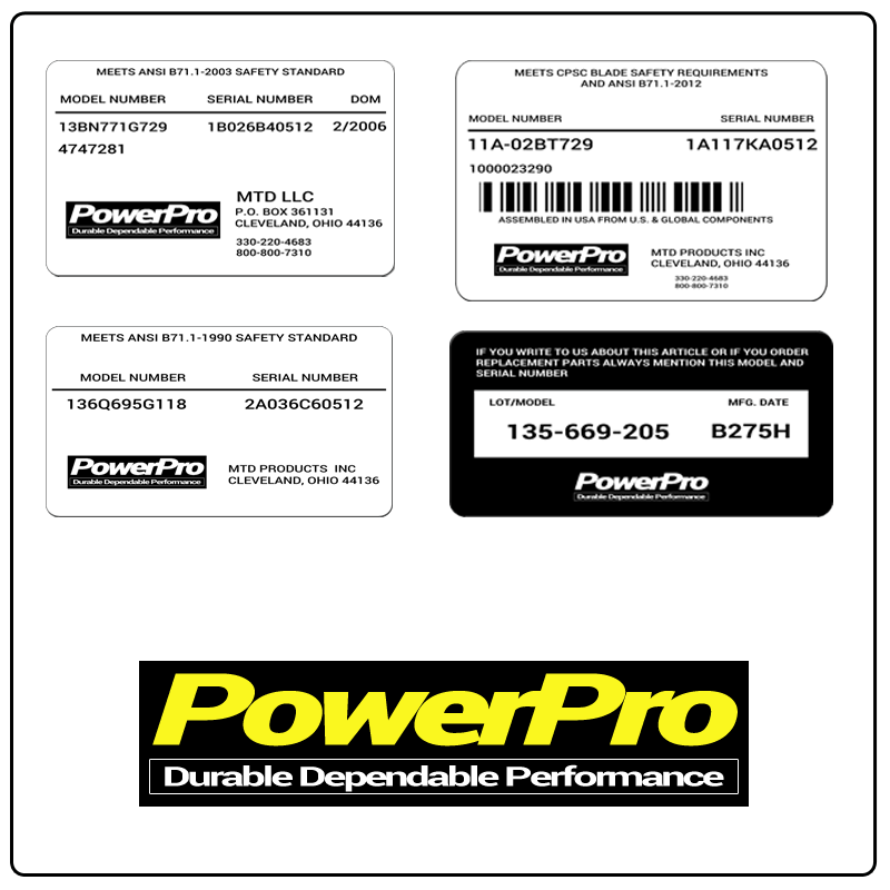 examples of what PowerPro model tags usually look like and a large PowerPro logo