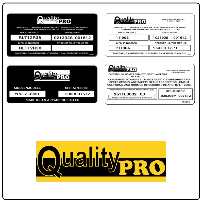 examples of what Quality Pro model tags usually look like and a large Quality Pro logo