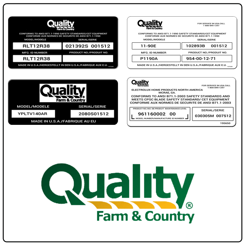examples of what Quality model tags usually look like and a large Quality logo