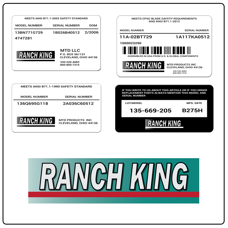 examples of what Ranch King model tags usually look like and a large Ranch King logo