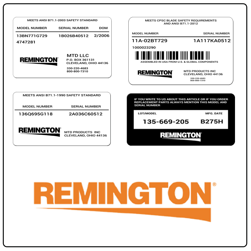 examples of what Remington model tags usually look like and a large Remington logo