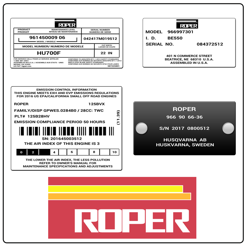 examples of what Roper model tags usually look like and a large Roper logo