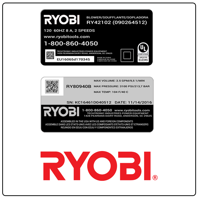 examples of what Ryobi model tags usually look like and a large Ryobi logo