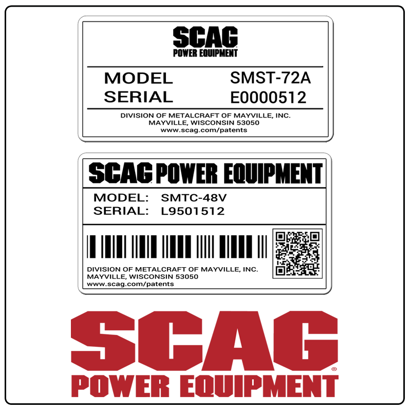 examples of what Scag model tags usually look like and a large Scag logo