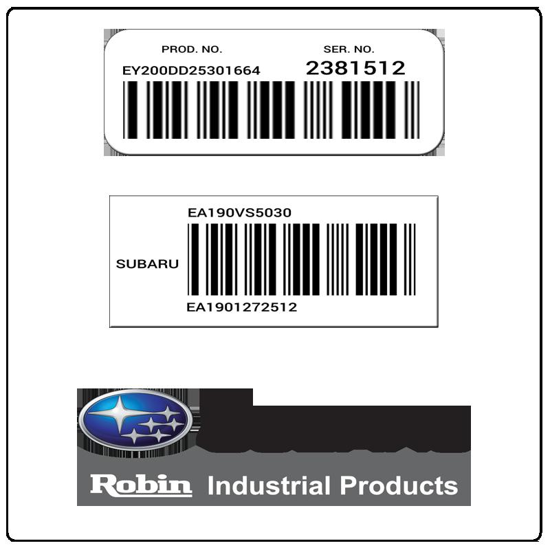 examples of what Subaru Robin model tags usually look like and a large Subaru Robin logo