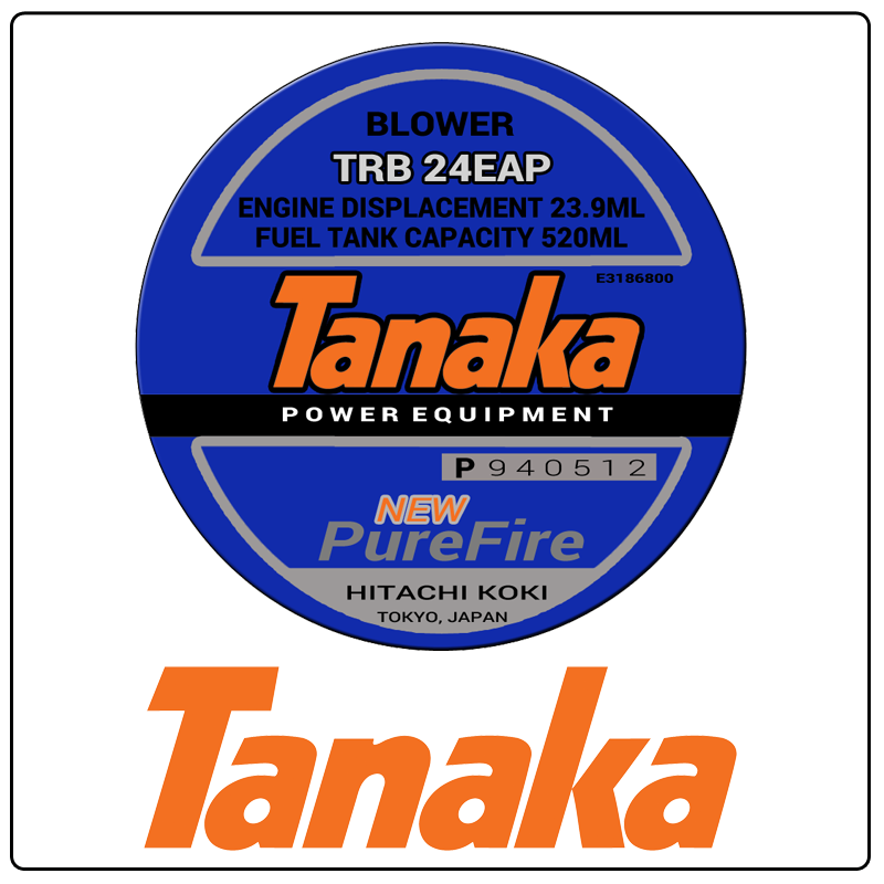 examples of what Tanaka model tags usually look like and a large Tanaka logo