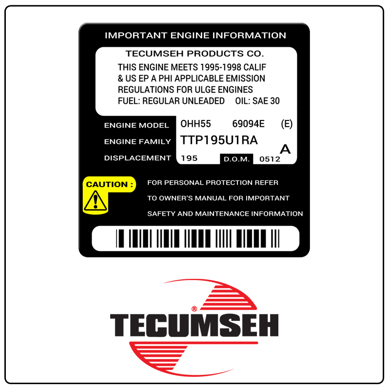 examples of what Tecumseh model tags usually look like and a large Tecumseh logo