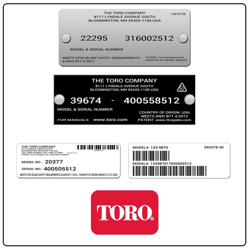 examples of what Toro model tags usually look like and a large Toro logo