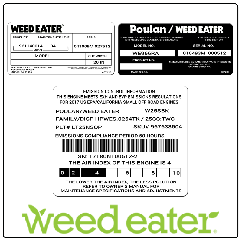 examples of what Weed Eater model tags usually look like and a large Weed Eater logo