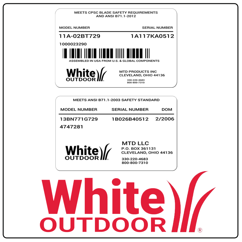 examples of what White Outdoor model tags usually look like and a large White Outdoor logo