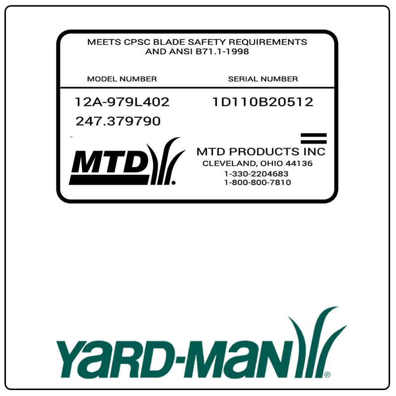 examples of what Yard-Man model tags usually look like and a large Yard-Man logo