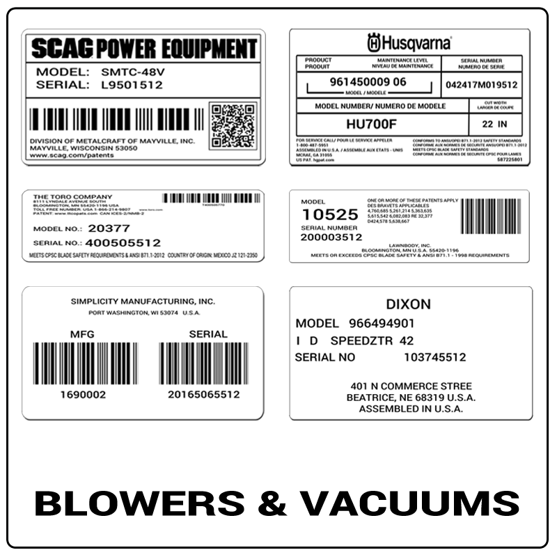 examples of what Blowers & Vacuums model tags usually look like and a large Blowers & Vacuums logo