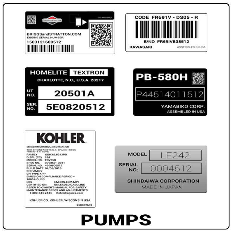 examples of what Pumps model tags usually look like and a large Pumps logo