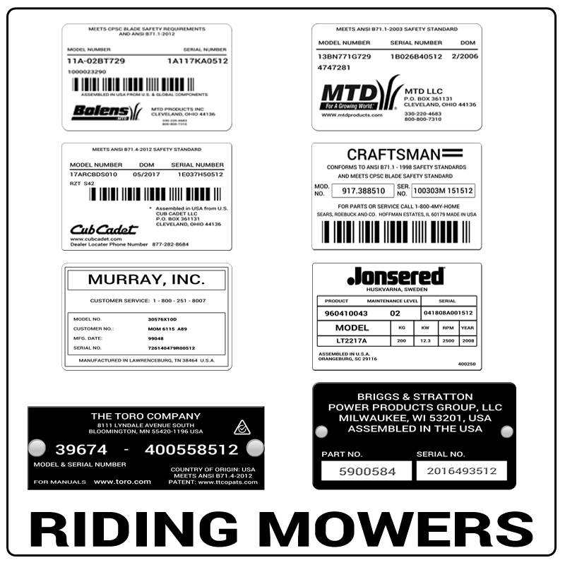 examples of what Riding Mowers model tags usually look like and a large Riding Mowers logo